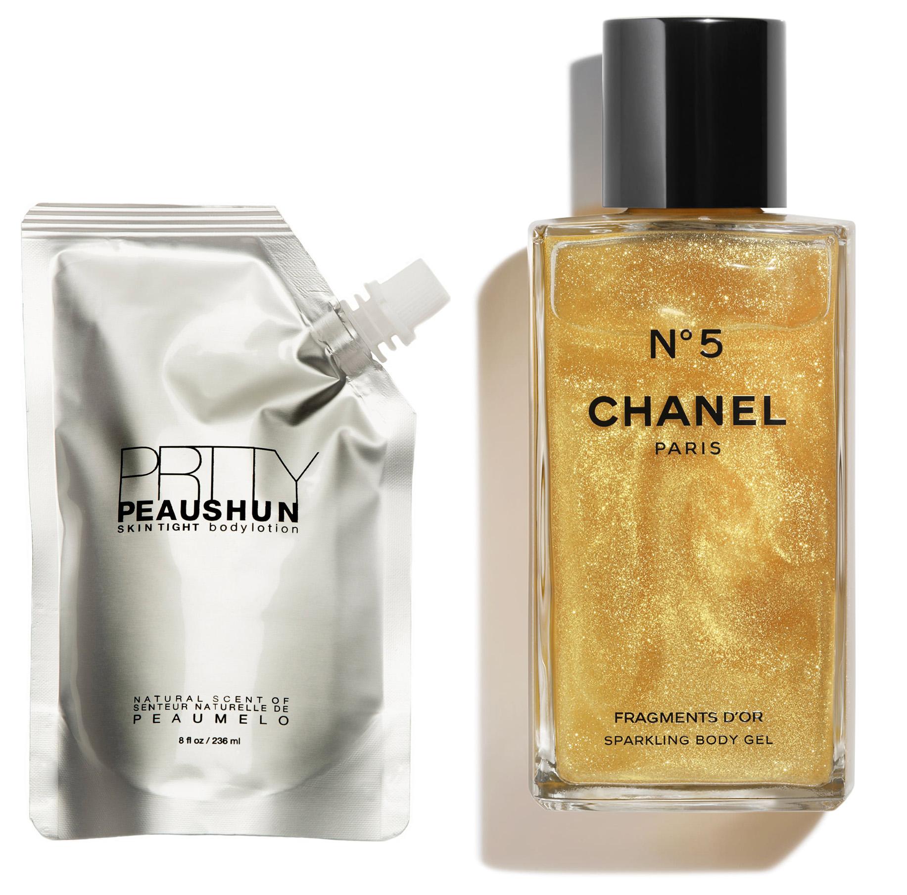 Loción corporal de Prtty Peaushen y gel corporal de Chanel