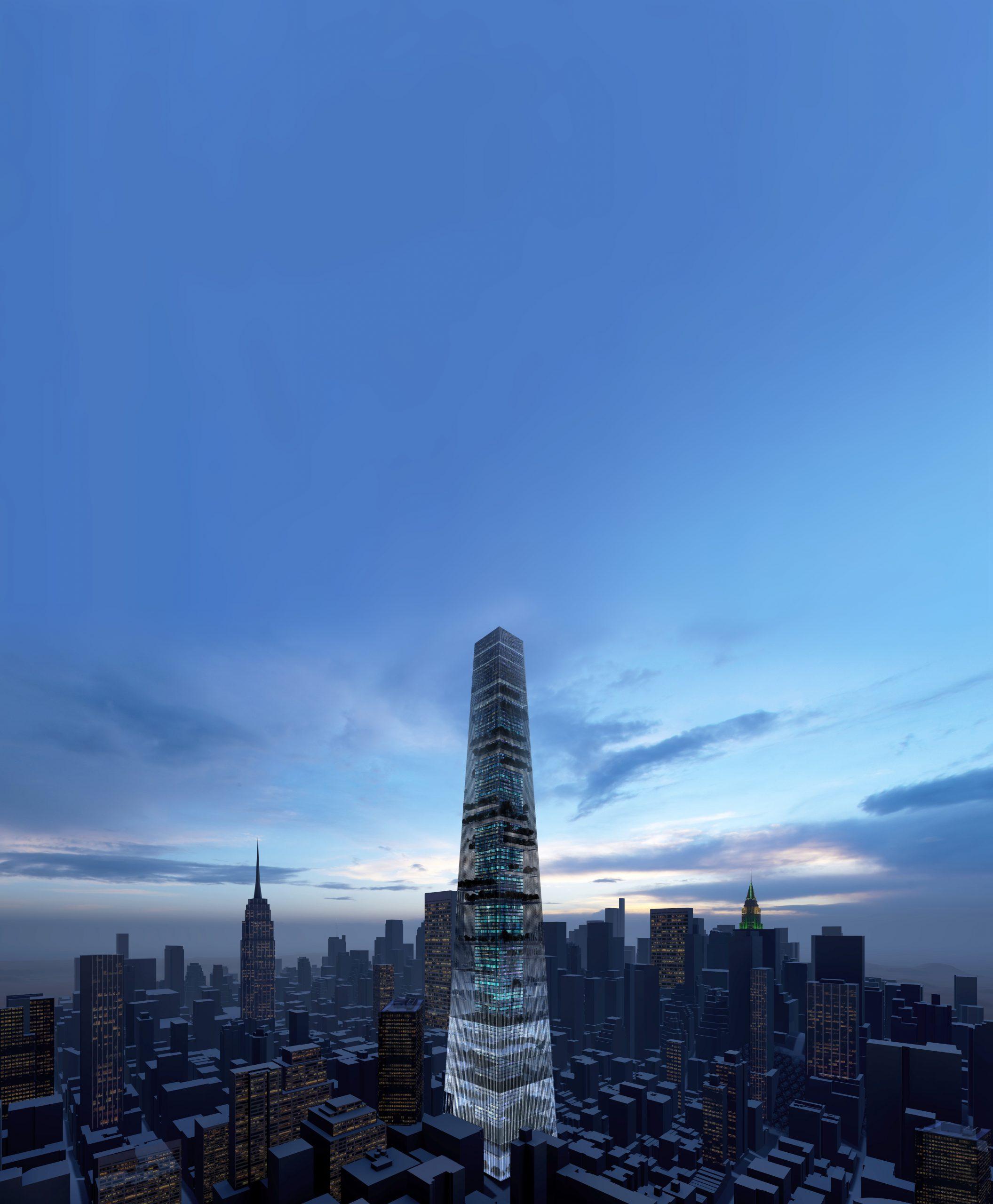Skylines NYC noche vista vertical