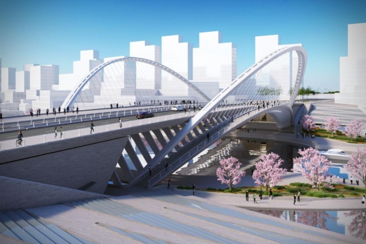 En la imagen, el Huasan Canal Bridge en Wuham por Santiago Calatrava. / Foto: Santiago Calatrava.