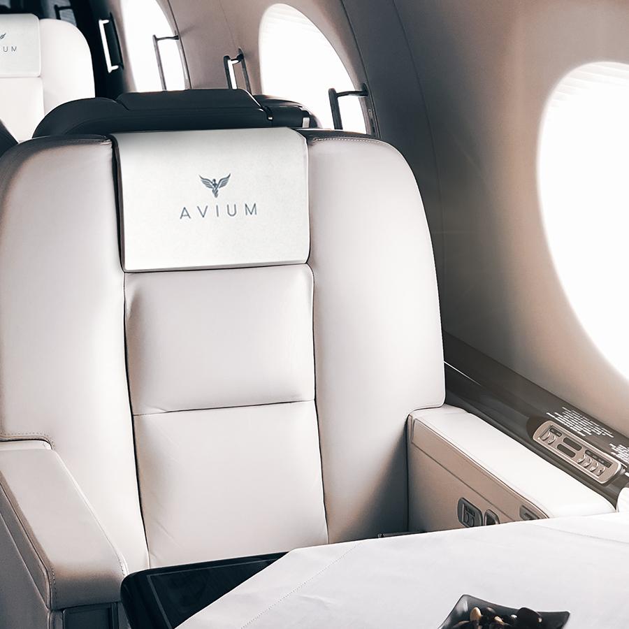 Interior de un jet privado de AVIUM/Foto: AVIUM