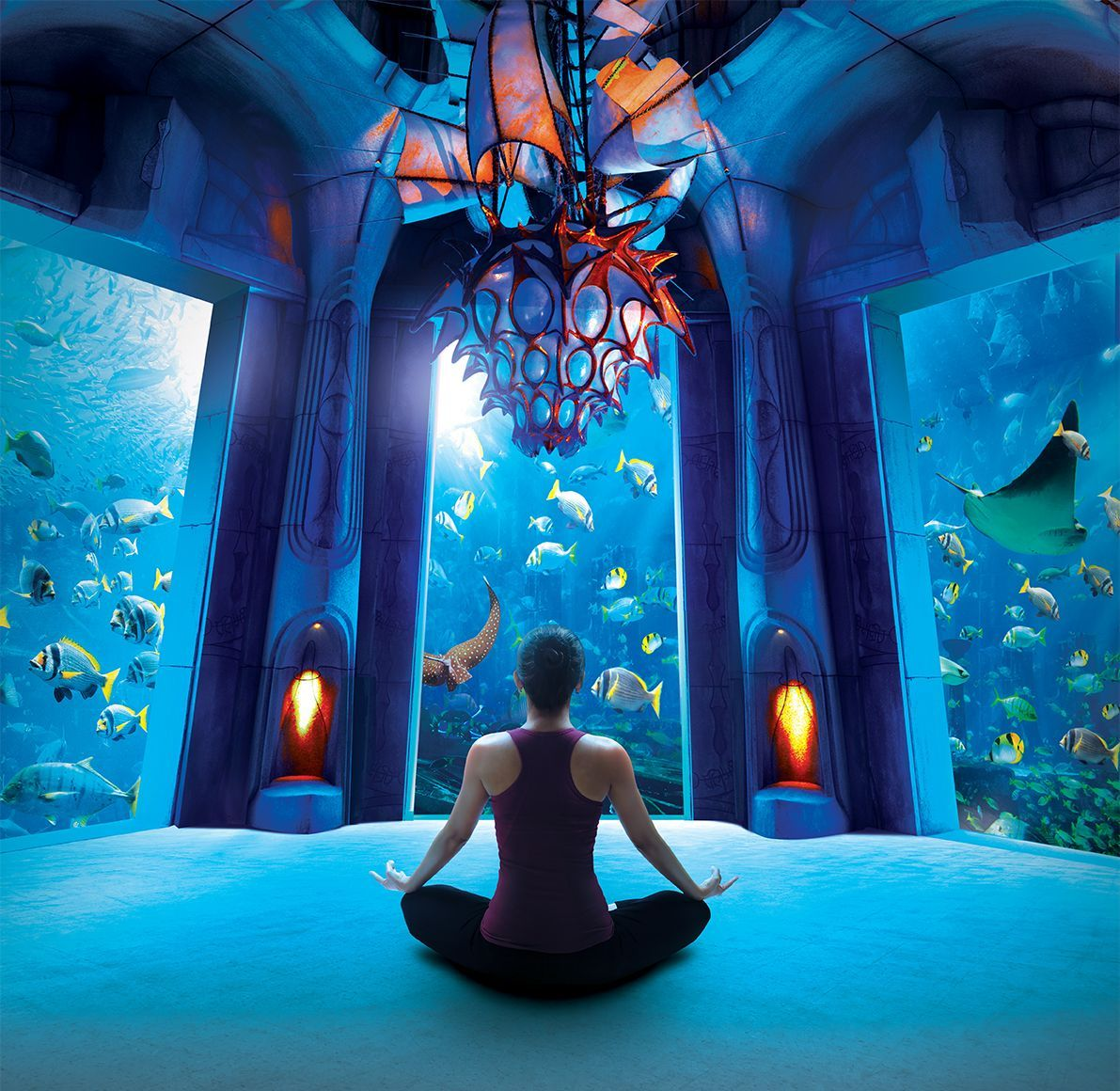 Yoga bajo el agua en Dubái/ Foto: Visit Dubai