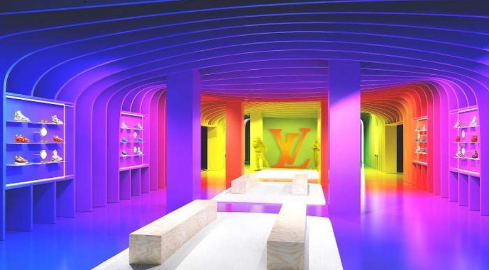 nterior de la pop-up de Luis Vuitton en París
