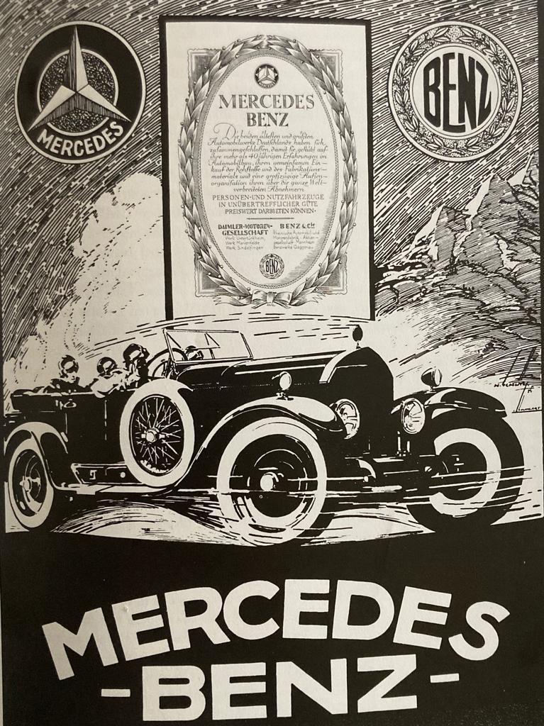 Cartel de 1925 en el que se anuncia la fusión de Mercedes y Daimler
