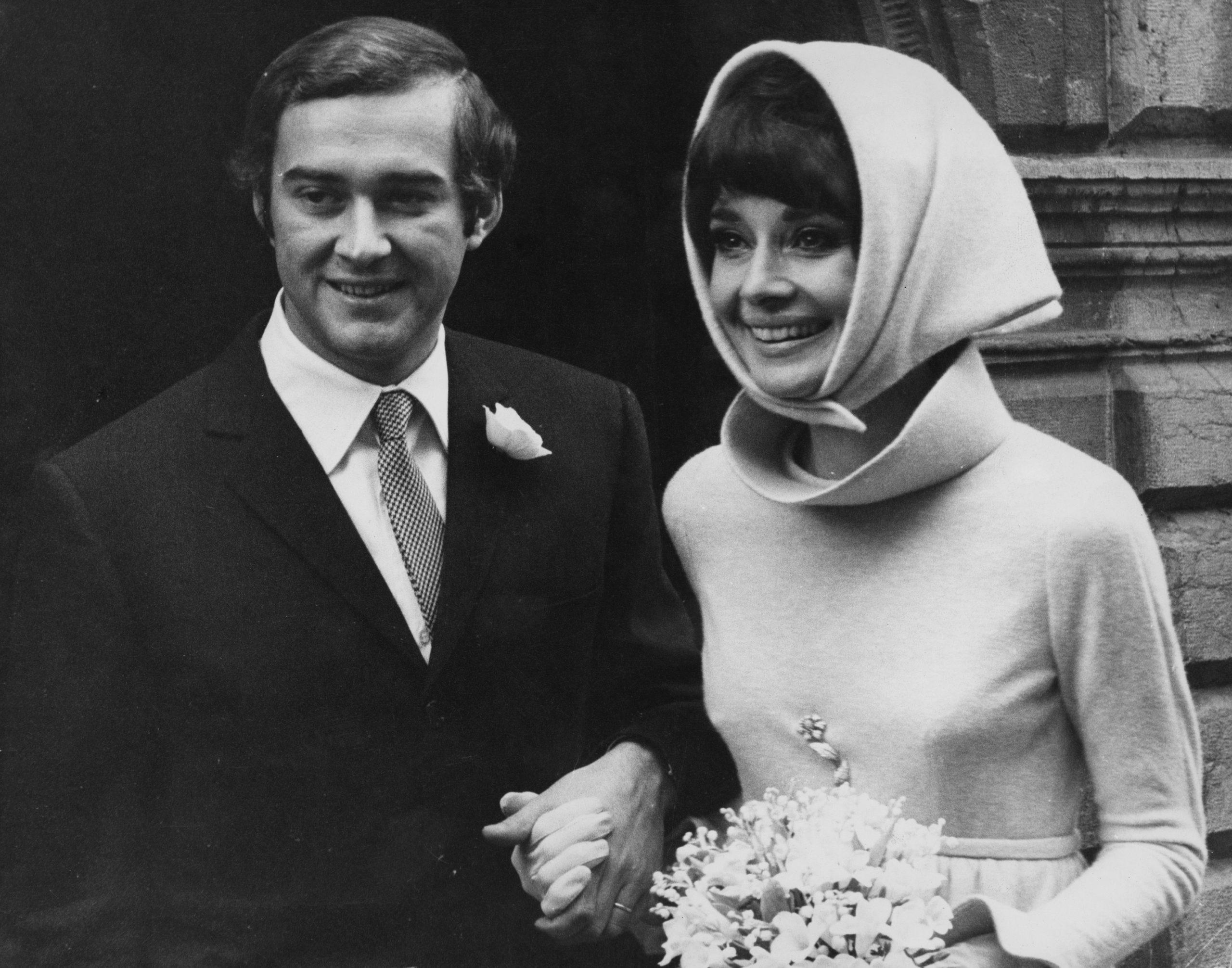 Audrey Hepburn en su boda con Andrea Dotti