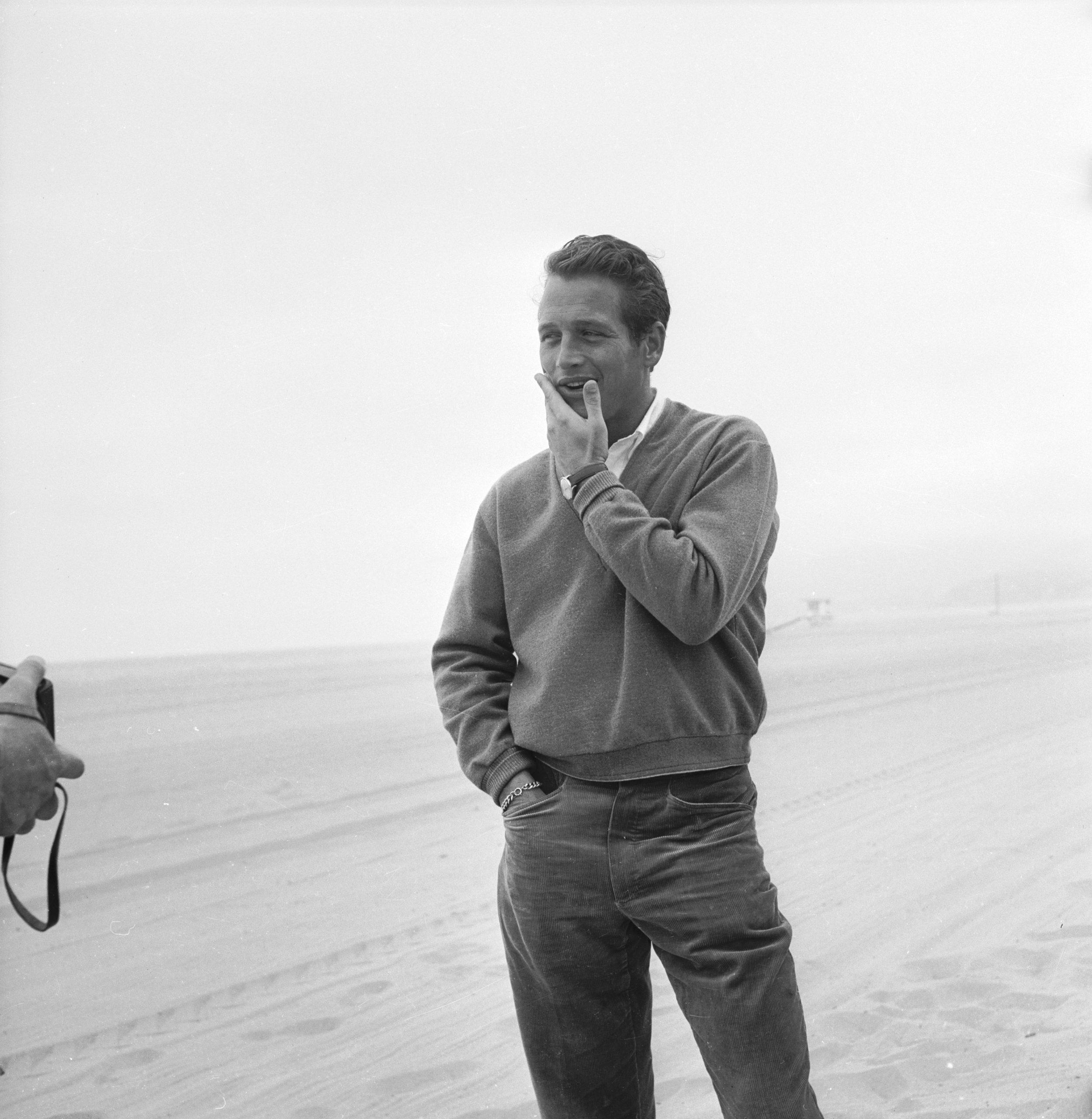 Paul Newman en la playa de 1958