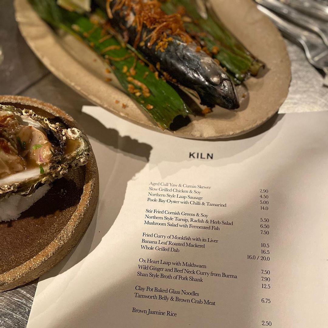 Menú de Kiln con algunos de los platos