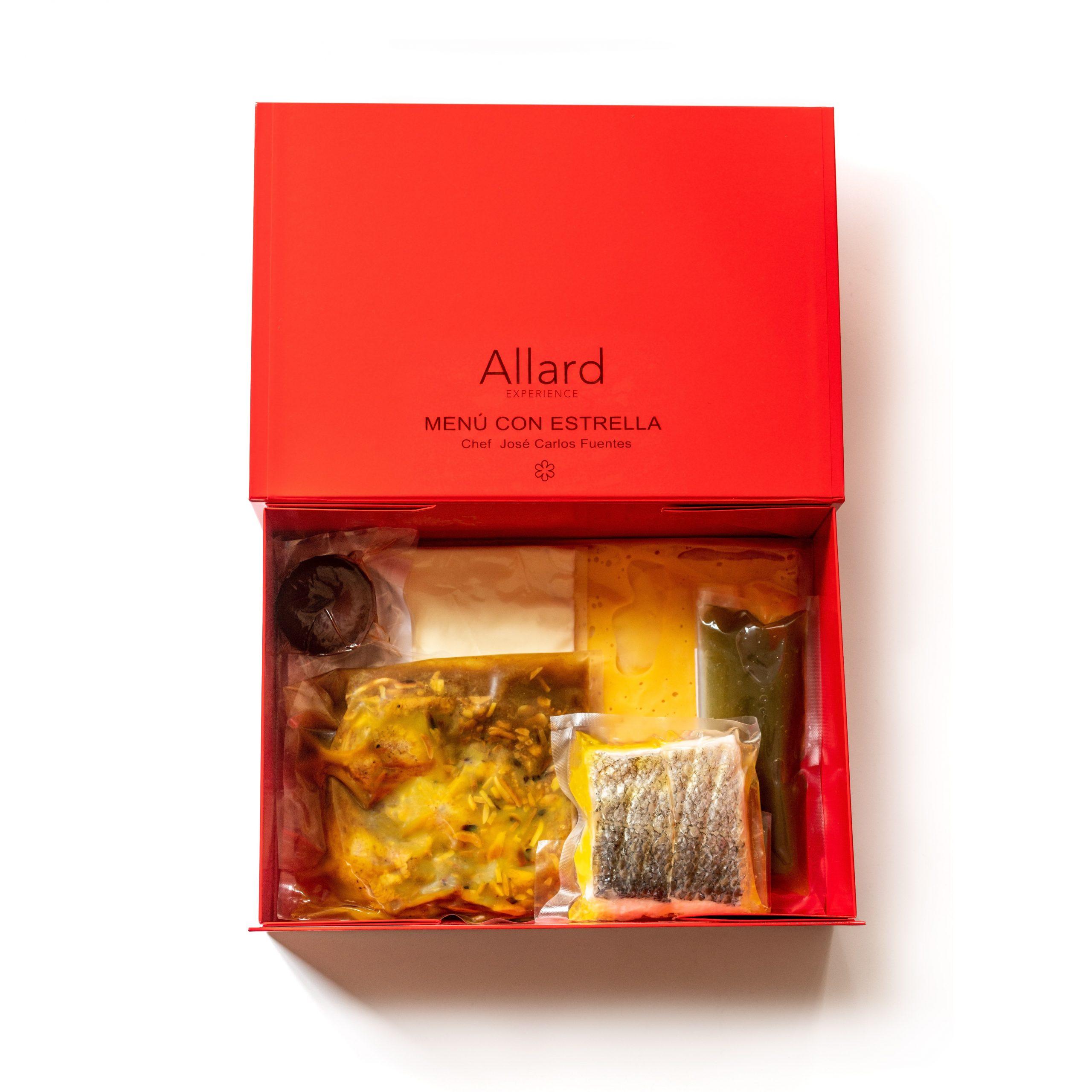 Caja con el menú del Club Allard