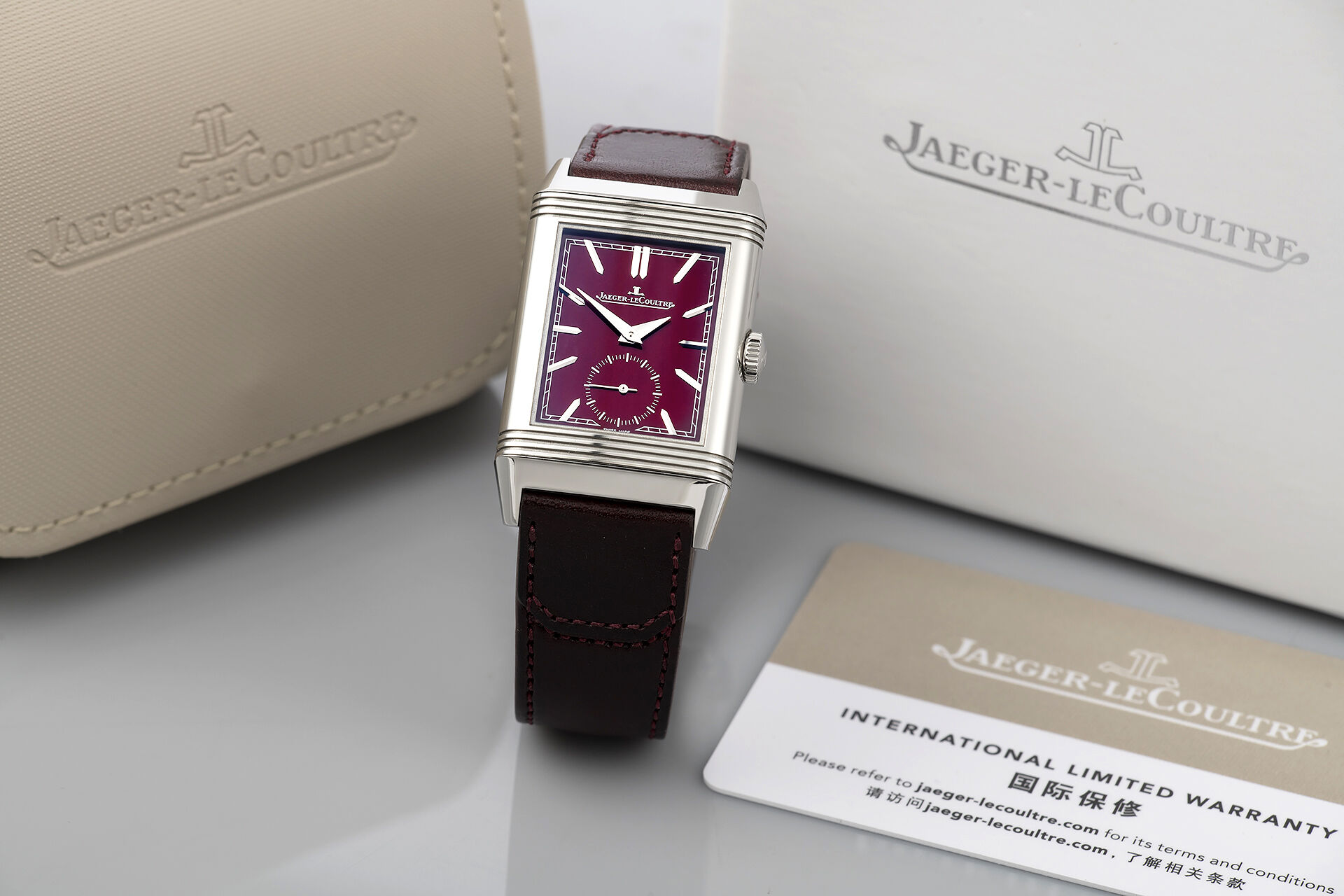 Jaeger le coultre Reverso tribute small seconds boutique burgundy dial