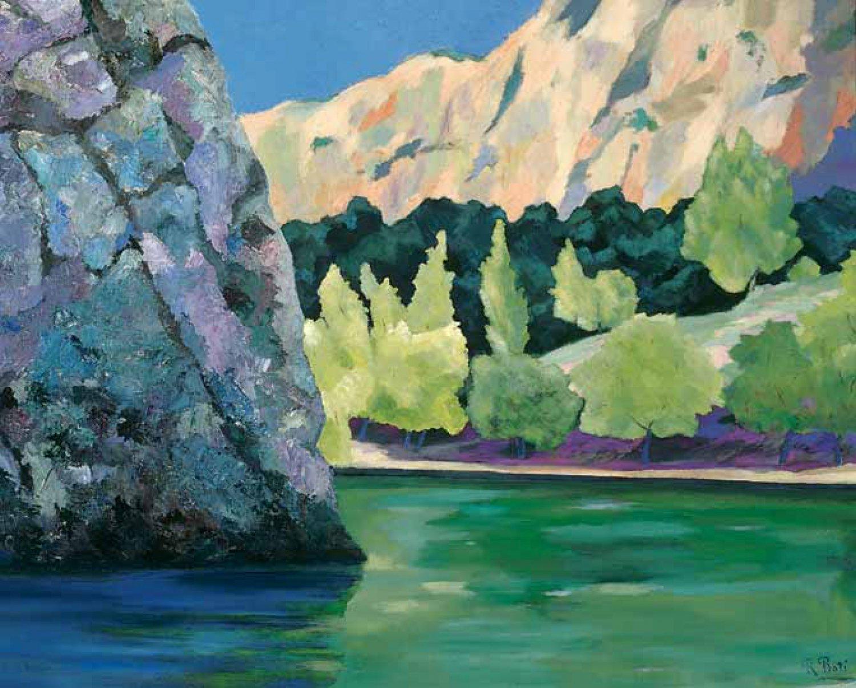 La roca en el lago, Monasterio de Piedra