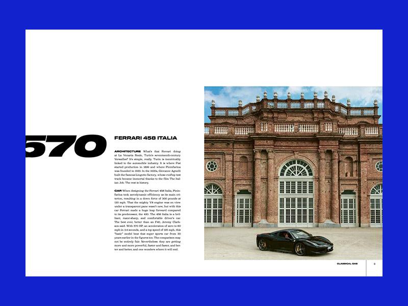 Una de las páginas de Carchitecture, el libro de los amantes de la arquitectura y el motor./Foto: Copyrightbookshop.be
