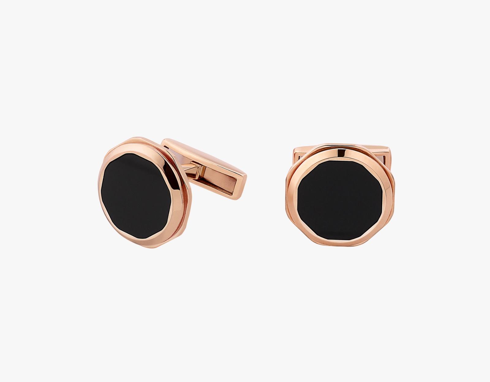 Gemelos Octo en oro rosa de 18 qt con elementos de ónix engastados