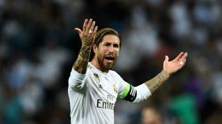 Sergio Ramos durante un partido con el Real Madrid.