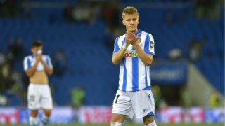 Odegaard, durante un partido de la Real. (AFP)