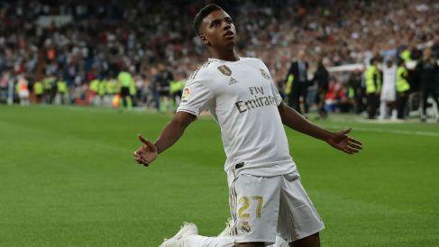 Rodrygo, celebra un gol con el Real Madrid (Getty).