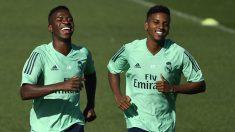 Vinicius y Rodrygo, en un entrenamiento del Real Madrid. (AFP)