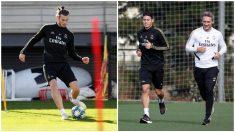 Bale y James Rodríguez, ejercitándose en Valdebebas (www.realmadrid.com)..