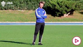 Guti, en su primer día como entrenador del Almería.