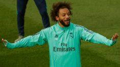 Marcelo, en el entrenamiento previo al partido contra el Galatasaray. (EFE)