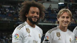 Marcelo y Modric, anes de un partido. (Getty)