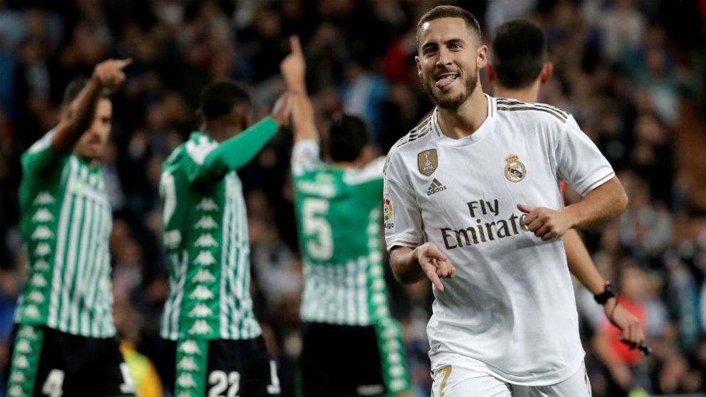 Hazard celebra un gol con el Real Madrid. (Getty)
