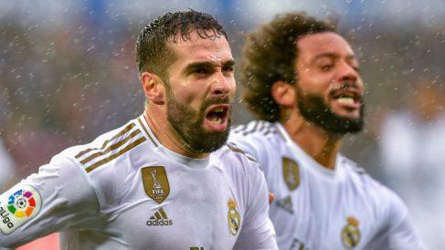 Carvajal celebra su gol ante el Alavés. (AFP)