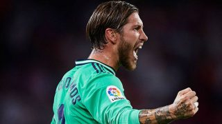 Sergio Ramos, durante un partido del Real Madrid.