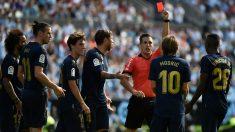 Luka Modric fue expulsado en el Celta – Real Madrid. (AFP)