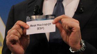 La bola del Real Madrid en un sorteo de la Champions League. (Getty)