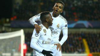 Vinicius y Rodrygo celebran un gol. (Getty)