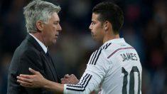 Ancelotti y James, durante su etapa en el Real Madrid, antes de reencontrarse en el Bayern (Getty)