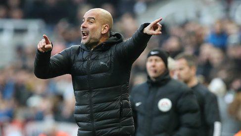Guardiola, en un partido con el Manchester City. (Getty)