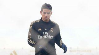 James Rodríguez, durante un entrenamiento. (Realmadrid.com)