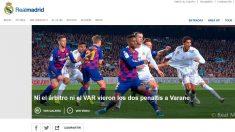 La noticia del Real Madrid en su página web.