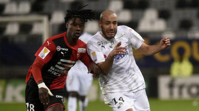 Camavinga, durante el Amiens - Rennes (AFP).