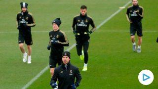 El Real Madrid durante un entrenamiento. (EFE)