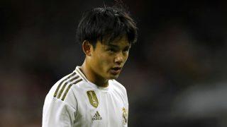 Takefusa Kubo, durante un partido con el Real Madrid. (AFP)