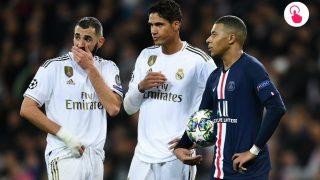 Benzema y Varane, junto a Mbappé. (Getty)