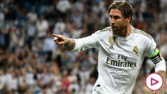 Sergio Ramos celebra un gol con el Real Madrid.