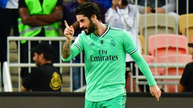 Isco celebra su gol ante el Valencia (AFP).