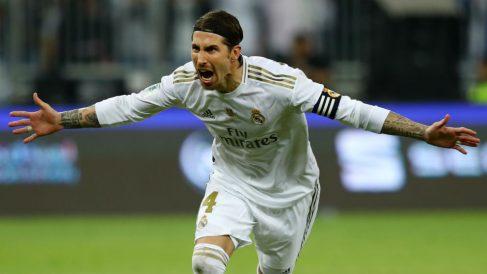 Sergio Ramos celebra su penalti en la Supercopa de España. (Getty)