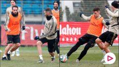Benzema y Jovic, durante el entrenamiento de este jueves del Real Madrid. (realmadrid.com)