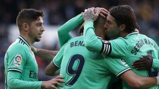 Valverde, Benzema y Sergio Ramos, en un partido del Real Madrid. (Getty)