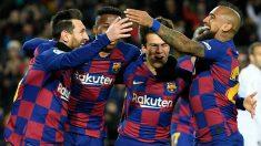Los jugadores del Barcelona celebran el gol contra el Granada. (AFP)