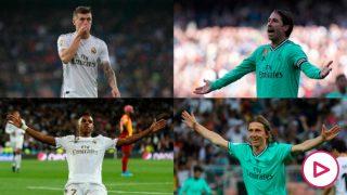 Kroos, Sergio Ramos, Rodrygo y Modric. (Getty)