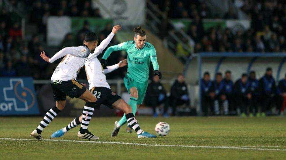 Bale, durante un partido ante el Unionistas. (AFP)