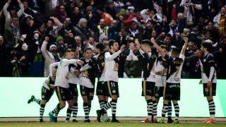 El Unionistas celebra el gol ante el Real Madrid. (AFP)