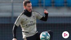 Hazard ya toca balón y puede llegar al derbi. (realmadrid.com)