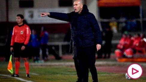 Zidane, durante el Unionistas – Real Madrid. (AFP)