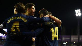 Los jugadores del Real Madrid, en el partido contra el Valladolid. (Getty)