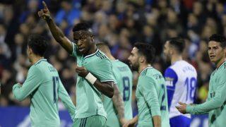 Vinicius Jr, celebrando el gol. (AFP)